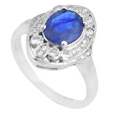 5.28cts natural blue sapphire white topaz 925 silver ring size 8.5 c17912