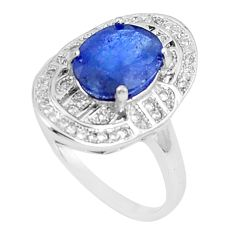5.51cts natural blue sapphire white topaz 925 silver ring size 6.5 c17905