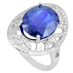7.13cts natural blue sapphire white topaz 925 silver ring size 7.5 c17941