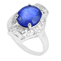 7.07cts natural blue sapphire white topaz 925 silver ring size 8.5 c17916