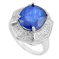 7.12cts natural blue sapphire white topaz 925 silver ring size 6 c17914