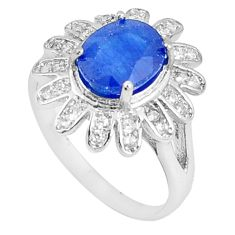 6.27cts natural blue sapphire white topaz 925 sterling silver ring size 7 c17911