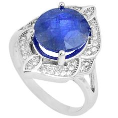 6.31cts natural blue sapphire white topaz 925 sterling silver ring size 7 c17909