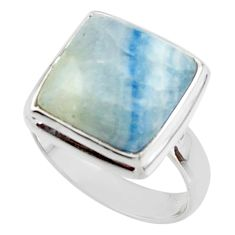 6.59cts natural blue scheelite (lapis lace onyx) 925 silver ring size 5.5 r46709