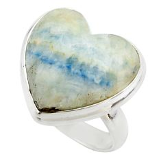 15.17cts natural blue scheelite (lapis lace onyx) 925 silver ring size 6 r46692