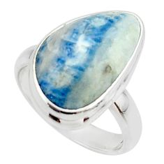 12.60cts natural blue scheelite (lapis lace onyx) 925 silver ring size 6 r46705