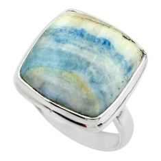 16.99cts natural blue scheelite (lapis lace onyx) 925 silver ring size 6 r46710