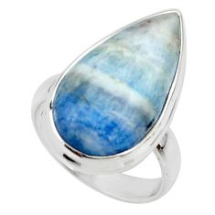 13.48cts natural blue scheelite (lapis lace onyx) 925 silver ring size 6 r46711