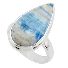 11.89cts natural blue scheelite (lapis lace onyx) 925 silver ring size 6 r46712