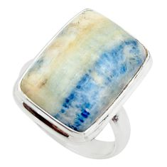 16.32cts natural blue scheelite (lapis lace onyx) 925 silver ring size 7 r46690