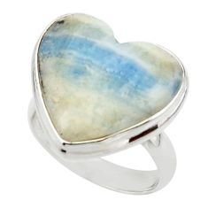 15.35cts natural blue scheelite (lapis lace onyx) 925 silver ring size 7 r46695