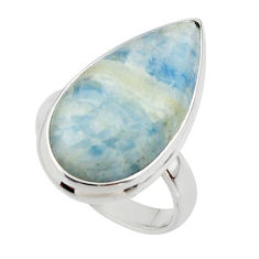 15.60cts natural blue scheelite (lapis lace onyx) 925 silver ring size 7 r46699