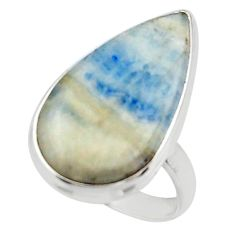17.65cts natural blue scheelite (lapis lace onyx) 925 silver ring size 8 r46670