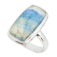 14.47cts natural blue scheelite (lapis lace onyx) 925 silver ring size 8 r46684