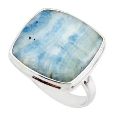 19.15cts natural blue scheelite (lapis lace onyx) 925 silver ring size 8 r46694
