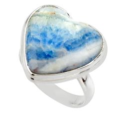 17.30cts natural blue scheelite (lapis lace onyx) 925 silver ring size 8 r46698