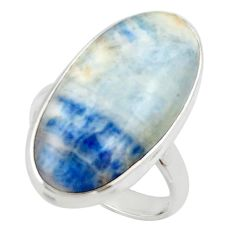 18.40cts natural blue scheelite (lapis lace onyx) 925 silver ring size 9 r46671