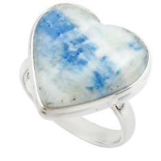 17.33cts natural blue scheelite (lapis lace onyx) 925 silver ring size 9 r46686