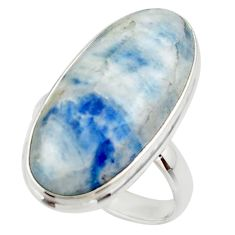 19.15cts natural blue scheelite lapis lace onyx 925 silver ring size 8.5 r46663