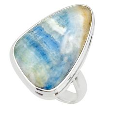 18.60cts natural blue scheelite lapis lace onyx 925 silver ring size 7.5 r46665