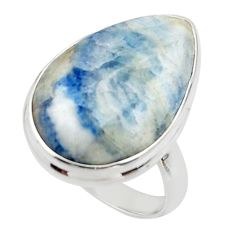 15.46cts natural blue scheelite lapis lace onyx 925 silver ring size 7.5 r46669
