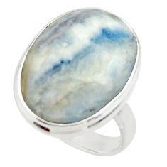 16.92cts natural blue scheelite lapis lace onyx 925 silver ring size 8.5 r46673