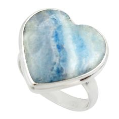 15.67cts natural blue scheelite lapis lace onyx 925 silver ring size 7.5 r46683