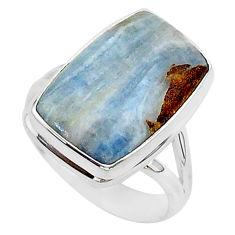 10.93cts natural blue scheelite octagan 925 silver solitaire ring size 8 r95734