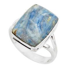10.35cts natural blue scheelite octagan silver solitaire ring size 10 r95738