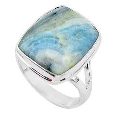 12.95cts natural blue scheelite octagan silver solitaire ring size 8 r95736