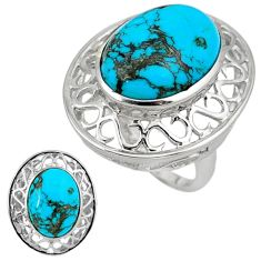 Natural blue shattuckite oval 925 sterling silver ring jewelry size 9 c22348