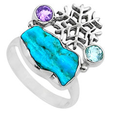 7.53cts natural blue sleeping beauty turquoise raw silver ring size 8.5 r66665