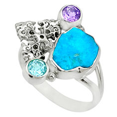 Natural blue sleeping beauty turquoise raw silver cross ring size 8.5 r73352
