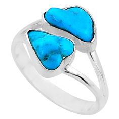 9.00cts natural blue sleeping beauty turquoise rough silver ring size 8.5 r65627