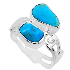8.91cts natural blue sleeping beauty turquoise rough silver ring size 6.5 r65629