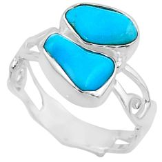 9.80cts natural blue sleeping beauty turquoise rough silver ring size 7.5 r65638