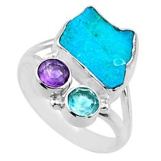 8.53cts natural blue sleeping beauty turquoise raw silver ring size 9.5 r66845