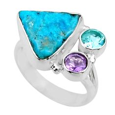 8.55cts natural blue sleeping beauty turquoise rough silver ring size 7.5 r66847