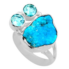 8.80cts natural blue sleeping beauty turquoise raw silver ring size 6.5 r66856