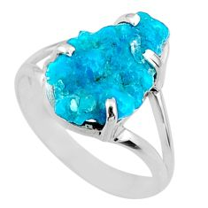 7.67cts natural blue sleeping beauty turquoise rough silver ring size 9.5 r66863