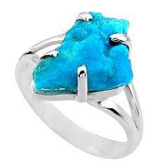 7.87cts natural blue sleeping beauty turquoise rough silver ring size 9.5 r66877