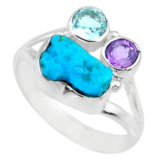 6.36cts natural blue sleeping beauty turquoise raw silver ring size 9.5 r73347