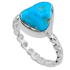 4.30cts natural blue sleeping beauty turquoise rough silver ring size 6 r65592