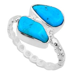 7.22cts natural blue sleeping beauty turquoise rough silver ring size 6 r65631