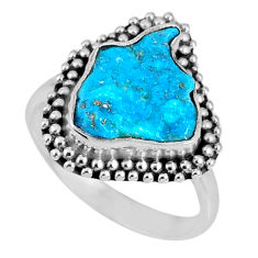 4.67cts natural blue sleeping beauty turquoise rough silver ring size 7 r62202