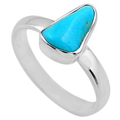 4.91cts natural blue sleeping beauty turquoise rough silver ring size 7 r65585