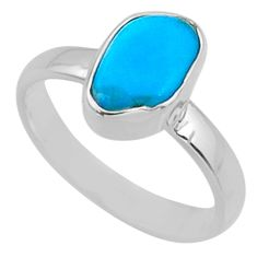 4.93cts natural blue sleeping beauty turquoise rough silver ring size 7 r65587
