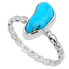 3.66cts natural blue sleeping beauty turquoise rough silver ring size 7 r65594
