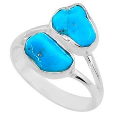 8.49cts natural blue sleeping beauty turquoise rough silver ring size 7 r65621