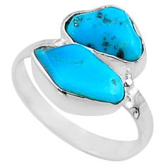 7.24cts natural blue sleeping beauty turquoise rough silver ring size 7 r65622